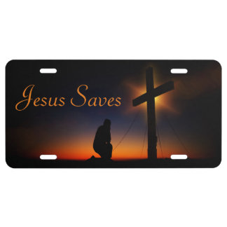 Holy Cross at Sunset Jesus Saves (Personalize) License Plate