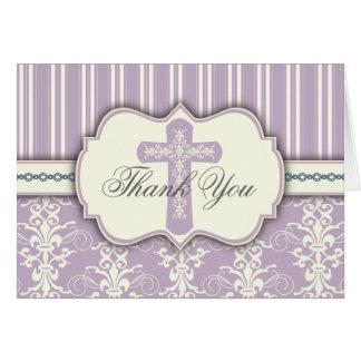 Holy Cross Vintage Lavender Damask Thank You Card