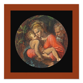"""Holy Family by Girolamo da Carpi 5.25"""" Square Invitation Card"""