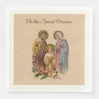 Holy Family Jesus Mary Holy St. Joseph Catholic Paper Dinner Napkin