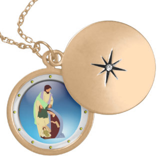 Holy Family Locket Necklace