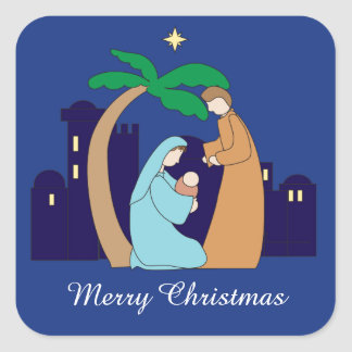 Holy Family Nativity Christmas Christian Religious Square Sticker