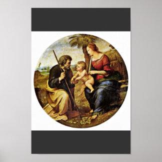 Holy Family Under A Palm Tree Tondo By Raffael Poster