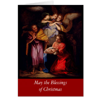 Holy Family with Angels by Coypel Card