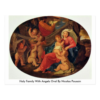 Holy Family With Angels Oval By Nicolas Poussin Postcard
