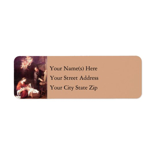 Holy Family With Angels Vintage Christmas Return Address Label