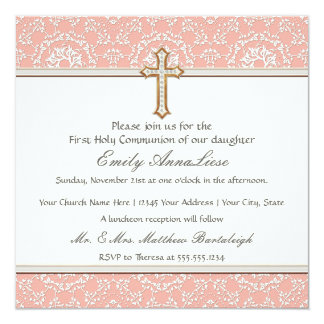 "Holy First Communion Gold Golden Cross Lace Girl 5.25"" Square Invitation Card"