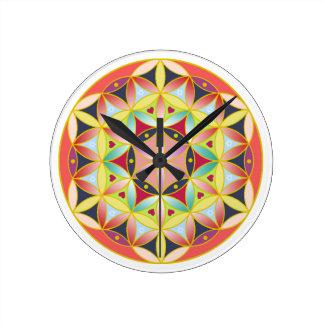 Holy geometric flower of life Wall clock
