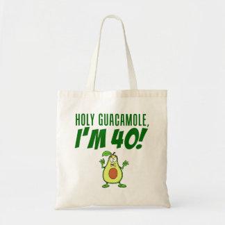 Holy Guacamole I'm 40 Cartoon Avocado Tote Bag