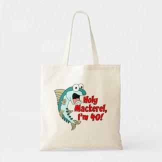 Holy Mackerel I'm 40 Funny Cartoon Fish Tote Bag