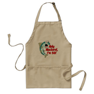Holy Mackerel I'm 50 Funny Cartoon Fish Standard Apron