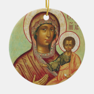 Holy Mary Mother of God Round Ceramic Ornament