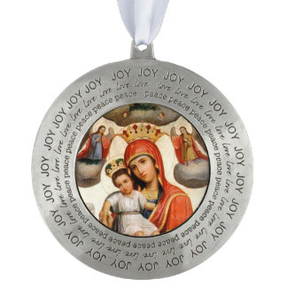 Holy Mother Ornament Russian Round Pewter Ornament