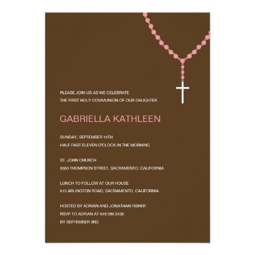 Holy Rosary Baptism /First Communion Invitation Personalized Invites