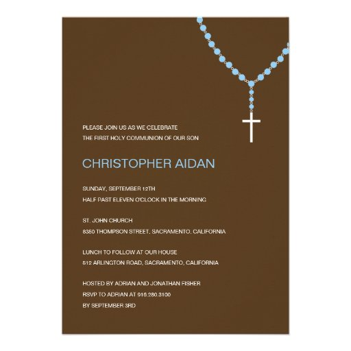 Holy Rosary Baptism /First Communion Invitation Custom Invites