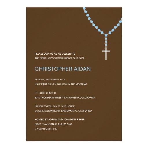 Holy Rosary Baptism /First Communion Invitation Custom Invites