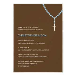"Holy Rosary Baptism /First Communion Invitation 5"" X 7"" Invitation Card"
