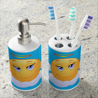 Holy smiley soap dispenser and toothbrush holder