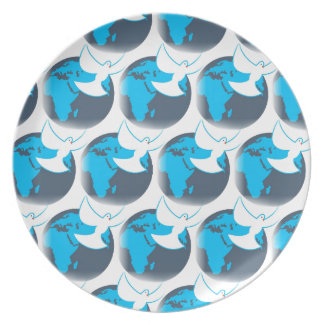 Holy Spirit dove abstract earth blessing Plate