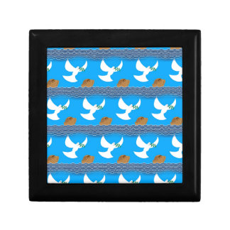 Holy spirit dove and earth abstract blue gift box