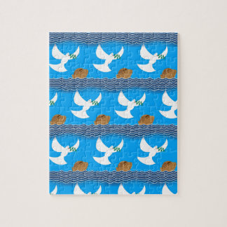 Holy spirit dove and earth abstract blue jigsaw puzzle