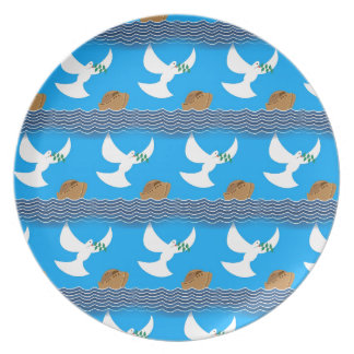 Holy spirit dove and earth abstract blue plate