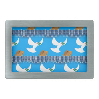 Holy spirit dove and earth abstract blue rectangular belt buckles