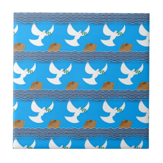 Holy spirit dove and earth abstract blue tile