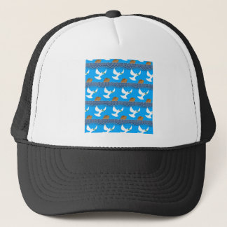 Holy spirit dove and earth abstract blue trucker hat