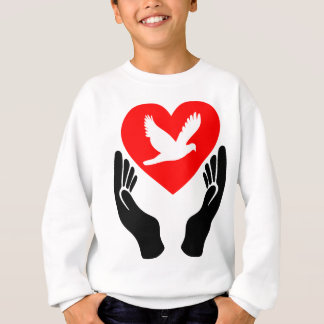 Holy Spirit dove red heart and hands Sweatshirt