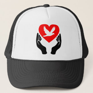 Holy Spirit dove red heart and hands Trucker Hat