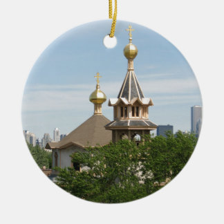 Holy Trinity CAthedral Domes (full color) Round Ceramic Ornament