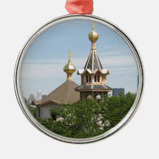 Holy Trinity CAthedral Domes (full color) Silver-Colored Round Ornament