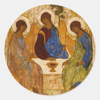 Holy Trinity Icon Rublev Byzantine Catholic Gift Classic Round Sticker