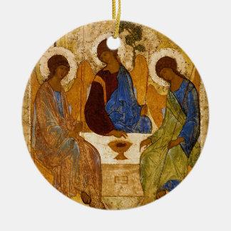 Holy Trinity Icon Rublev Byzantine Catholic Gift Round Ceramic Ornament