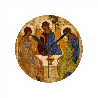 Holy Trinity Icon Rublev Byzantine Catholic Gift Round Clock