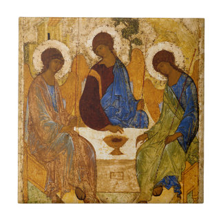 Holy Trinity Icon Rublev Byzantine Catholic Gift Tile