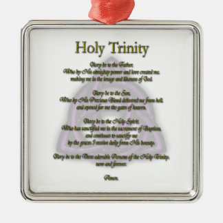 Holy Trinity Silver-Colored Square Ornament