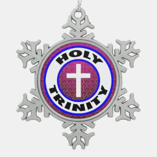 Holy Trinity Snowflake Pewter Christmas Ornament
