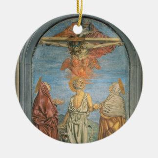 Holy Trinity with St. Jerome (fresco) Round Ceramic Ornament