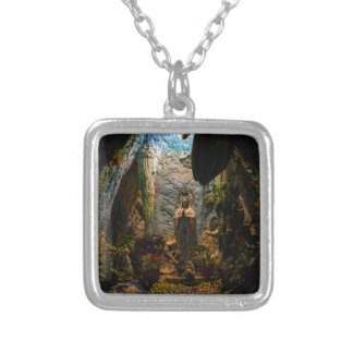 Holy Virgin Mary Grotto Silver Plated Necklace