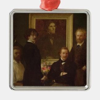 Homage to Delacroix, 1864 Silver-Colored Square Ornament