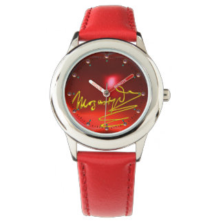 HOMAGE TO MOZART Composer 3D Gold Signature Red Watch