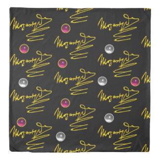 HOMAGE TO MOZART Gold Signature Of Composer Black Duvet Cover