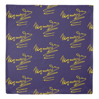 HOMAGE TO MOZART Gold Signature Of Composer Blue Duvet Cover