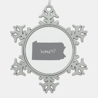 Home <3 Pennsylvania Snowflake Pewter Christmas Ornament