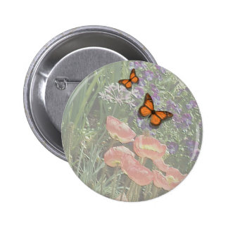 Home and Garden ~ Poppy Butterfly Flowers Pinback Button
