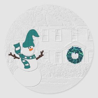 Home and Snowman in Winter with Teal Accents Classic Round Sticker