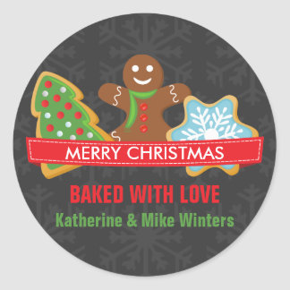 Home Baked Christmas Cookie Round Sticker