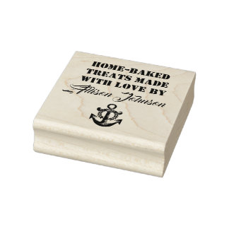 Home-Baked Treats Made With Love By YOUR NAME Rubber Stamp